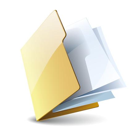 Carpeta con el icono de papel de vector, aislado en fondo blanco