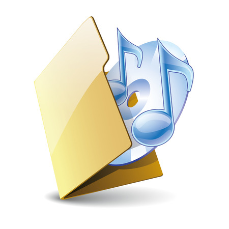 folder icon: Yellow folder 3d vector icon with musical notes and disk,  isolated on white