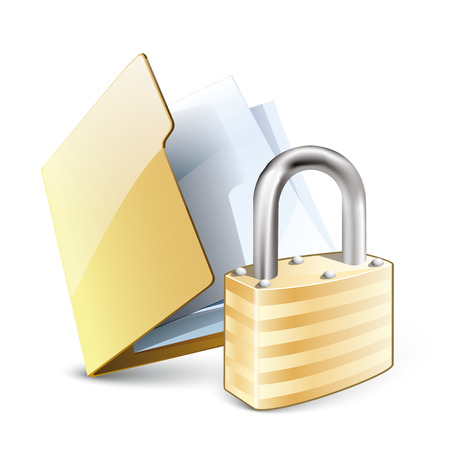 Vector illustration of security concept with yellow folder and locked pad lock, isolated on white background. Eps 10