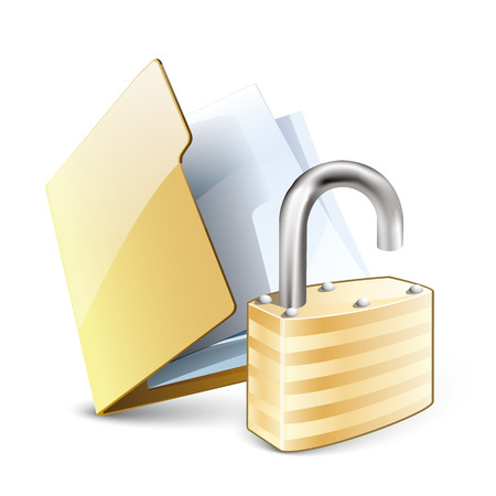 pad lock: Vector illustration of unlocked folder concept with yellow folder and unlock pad lock Illustration