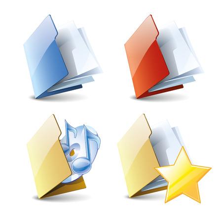 Set de dossiers de style 3d, différents dossiers de couleur, un dossier avec de la musique, dossier favori, vecteur icônes isolé sur fond blanc Vecteurs