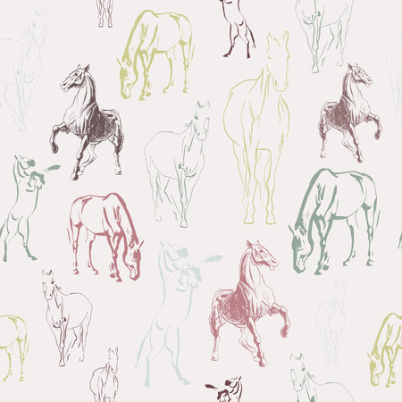 Seamless vector pattern with horses sketches, vintage style