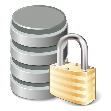 secure backup: Lock Concept  icon,  Database and padlock, isolated on white, vector illustration
