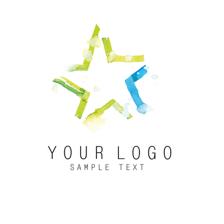 corporative: Star sign handwritten by watercolor with artistic blur - Element for your corporative identity. Illustration
