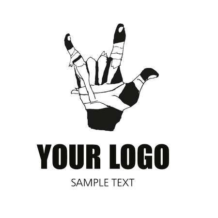 Hand with patch sign in hard style, element for corporate identity