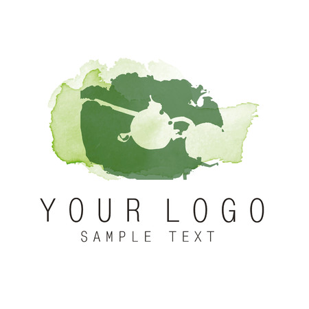 Glasses drawing on watercolor spots - Element for corporate identity Illustration