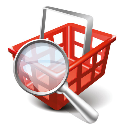 Vector Shopping Red Cart and Magnifying Glass Icon. Modern design 3d style icon, isolated on white background