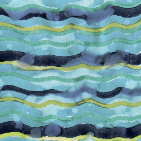 Abstract Sea Background of watercolor hand painted Blue Waves with paper texture in high resolution Stock Photo