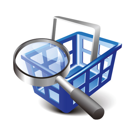 Vector Shopping Blue Cart and Magnifying Glass Icon. Modern design 3d style icon, isolated on white background Illustration