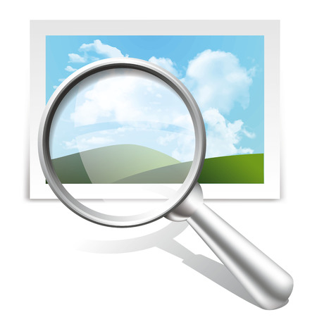 Vector icons of magnifying glass and icons of image, isolated on white background