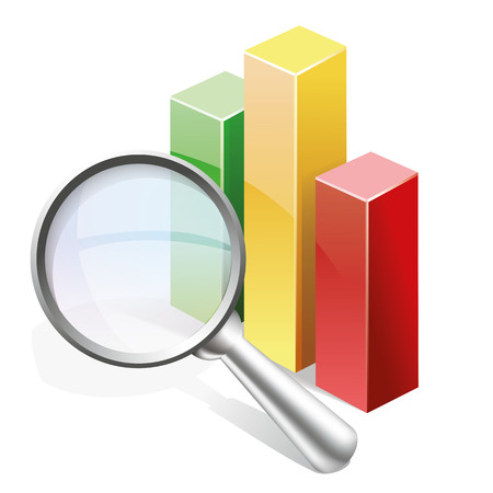 Statistics Search concept vector  icon, magnifier with Bar graph