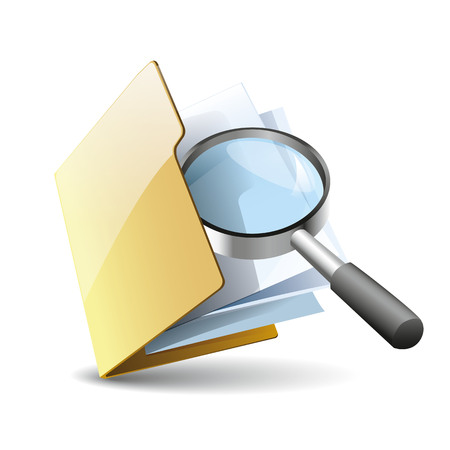 Vector illustration of search concept with yellow folder with paper  icon and magnifying glass, isolated on white background Illustration