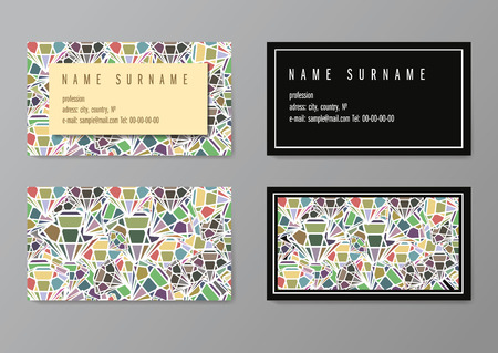 Vintage simple business card vector template, with diamonds pattern