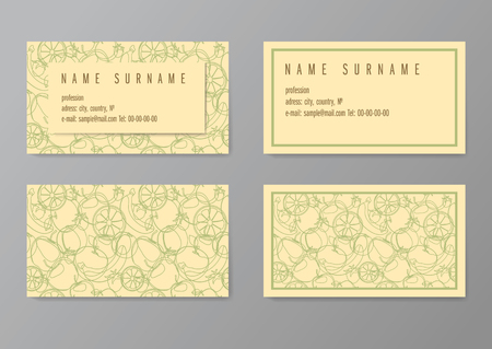 Vintage simple business card vector template, with fruits pattern