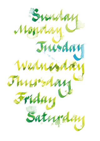 Handwritten days of the week, watercolor calligraphy with artistic blur, isolated on wite background. Vector, EPS10 Illustration