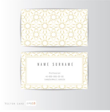 Visit card set with arabic ornament, vector illustration