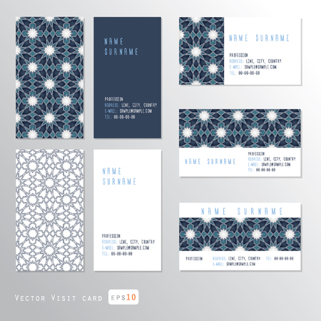 Visit cards set with ornament, illustration