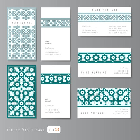 Visit cards set with islamic ornament, vector illustration