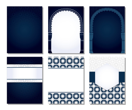 Banners set of templates with classic arabic ornament. Stock Photo