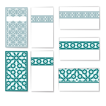 Visit cards set with islamic ornament.