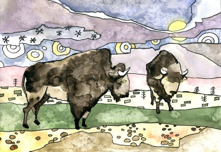 Two Buffalo and night landscape. Hand-drawn watercolor illustration.