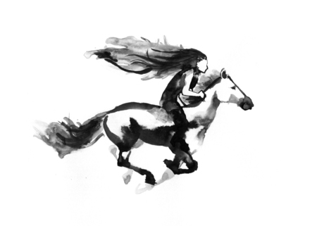 Girl riding a running horse, watercolor handdrawed illustration, isolated on white background
