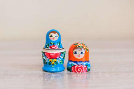 Russian doll. set of 2 pieces.Mareshki. Banco de Imagens