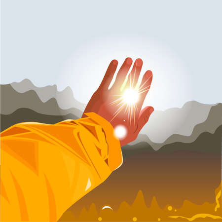 Autumn concept. Hand outstretched to the sun on fall background. Vector illustration.