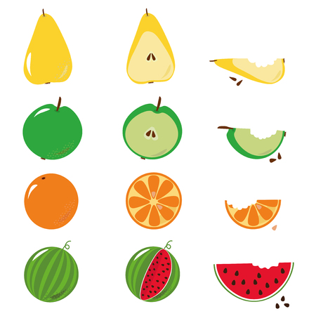 Bitten fruits sequence illustration over white background. Vector available. Illustration