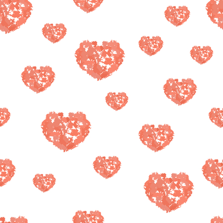 Seamless pattern with hearts from watercolor blurs Illustration