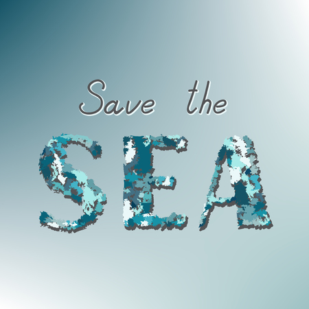 Save the sea call on a blue background.