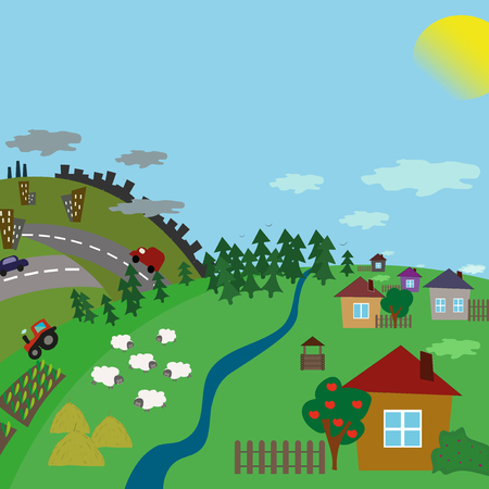Urban and village landscape. Road from the city to the countryside. Vector flat illustration