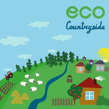 Village landscape. Eco countryside. Vector flat illustration Stock Photo