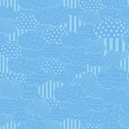 Abstract seamless vector pattern with superposition clouds. Blue stylized hand drawn cloudy sky texture Illustration