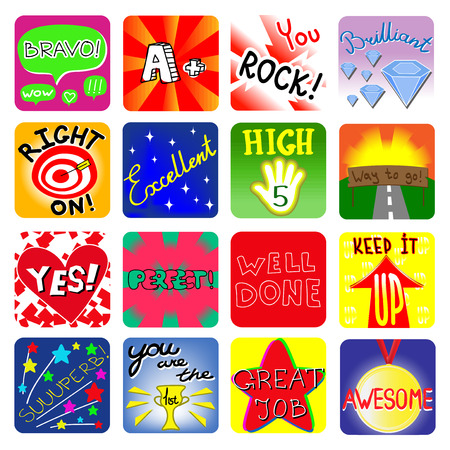 Achievement school labels. Set of 16 vector stickers