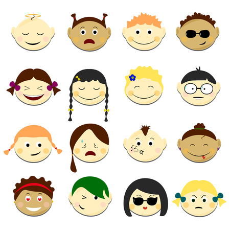Kids face set vector illustration. Emoji portraits with various emotions hairstyle