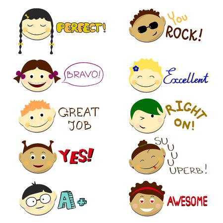 Ilustración de vector set niños cara Vector Logros escolares de etiquetas. Emoji retratos con diferentes emociones peinado.