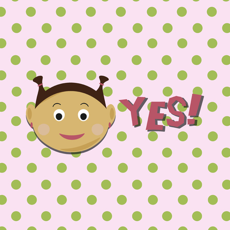 Kids face vector illustration. Vector Achievement school Labels. Emoji portrait with dots background and YES word Illusztráció