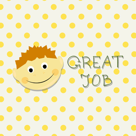 praise: Kids face vector illustration. Vector Achievement school Labels. Emoji portrait with dots background and Great job word