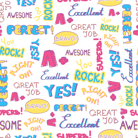 Vector Achievement school Labels seamless pattern. Illustration