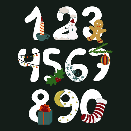 Numbers with symbols of the Christmas New Year vector cartoon illustration Illustration
