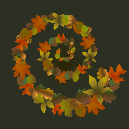 Autumn yellow brown and red leaves. Spiral from leaves Illustration