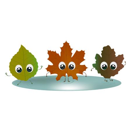 Set of fallen leaves with big eyes. Illustration