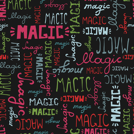 Seamless pattern doodle MAGIC words on black background