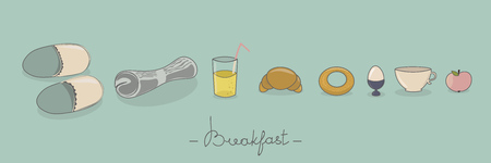 Breakfast things. Vector greeting card and banner design. Illustration