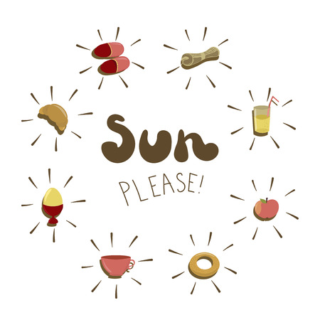 Sun please, hand drawn vector phrase with breakfast things. Fashion print, t-shirt, greeting card and banner design on a white background.