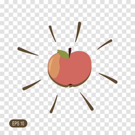 Apple isolated on transparent background. Colorful symbol for your design. Vector illustration, easy to edit.