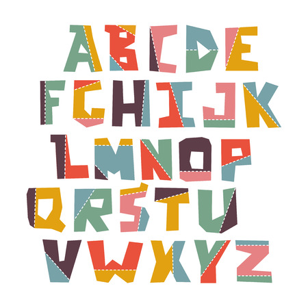 Hand lubberly cut vector colorful alphabet set. Illustration