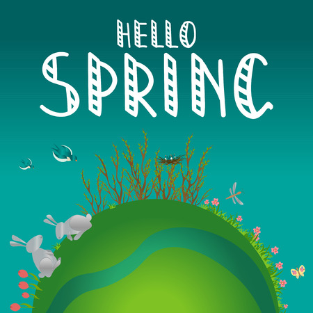 Earth Concept vector illustration, Hello Spring hand writing phrase. Illustration