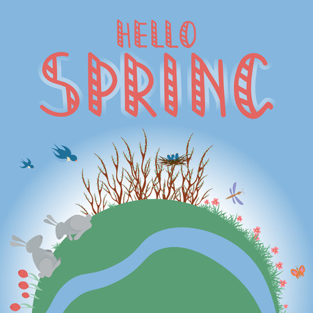 Earth Concept flat vector illustration, Hello Spring hand writing phrase. Illustration